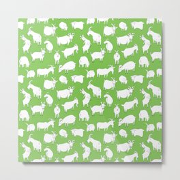 Green Goats Metal Print