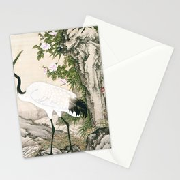Crane and Chinese Roses Stationery Cards