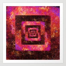 Boxed in | Colorful distressed geometric abstract Art Print