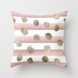 Golden dots on blush watercolor stripes Throw Pillow
