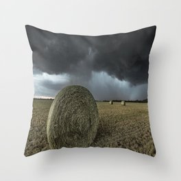 Fade Away - Round Hay Bales in Storm in Oklahoma Throw Pillow