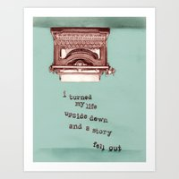 Story Fell Out (Blue) Art Print