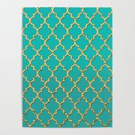 Gold Morrocan Quatrefoil on Turquoise Poster