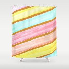 Retro Watercolor Stripes  Shower Curtain