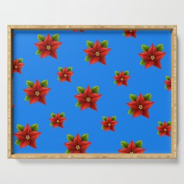 Red Flowers Pattern Serving Tray
