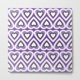 Retro Purple Hearts in Spring Time Metal Print