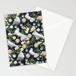 White Doves and Roses Stationery Cards