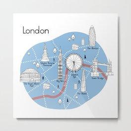 London Map - Original Metal Print