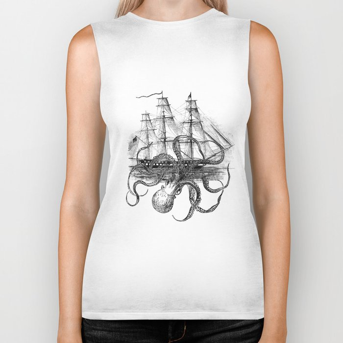 Octopus Kraken attacking Ship Antique Almanac Paper Biker Tank