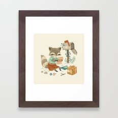 Raccoon Post Framed Art Print