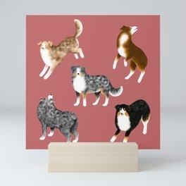 Australian Shepherd Pattern (Rust Red Background) Mini Art Print