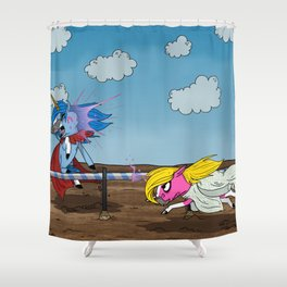 Mustache Unicorn Joust Shower Curtain