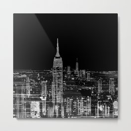 Contemporary Elegant Silver City Skyline Design Metal Print