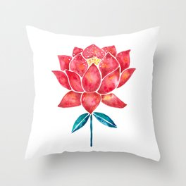 Sacred Lotus – Red Blossom Throw Pillow