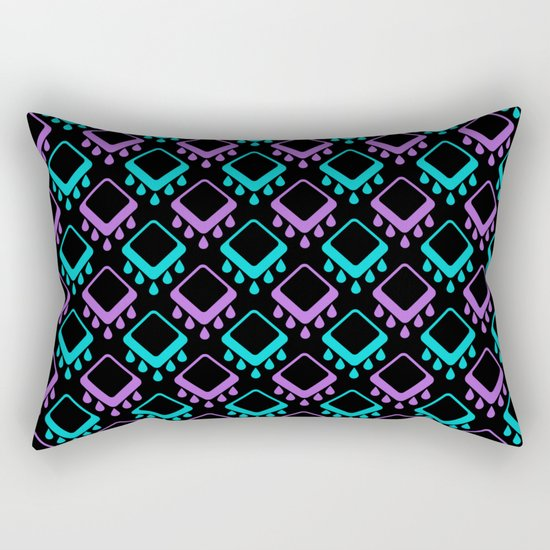 Abstract colorful geometric pattern . Black , Magenta , turquoise . Rectangular Pillow