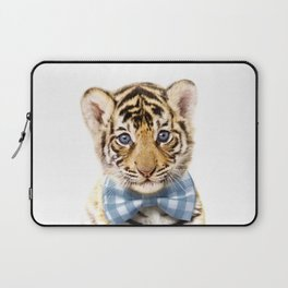 Baby Tiger With Bow Tie, Baby Animals Art Print By Synplus Laptop Sleeve
