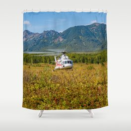 Helicopter landed in an autumn landscape Shower Curtain