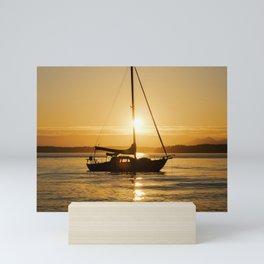 Sunset Serene Sailboat Mini Art Print