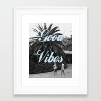 good vibes Framed Art Prints featuring good vibes by Hannah