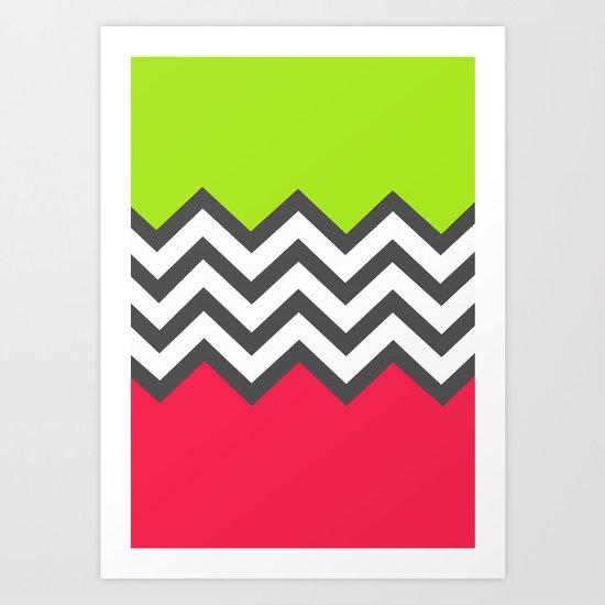 Color Blocked Chevron 5 Art Print