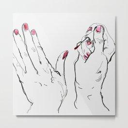 Pink Nails Metal Print