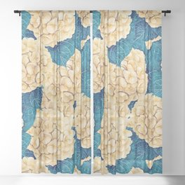 Hydrangea watercolor pattern, yellow and blue Sheer Curtain