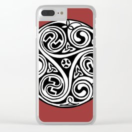 Celtic Art - Triskele - on Red Clear iPhone Case