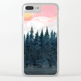 Forest Under the Sunset Clear iPhone Case