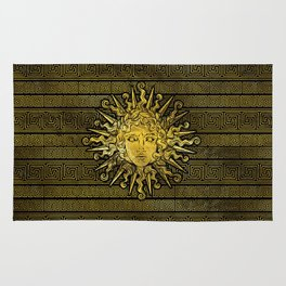 Apollo Sun Symbol on Greek Key Pattern Rug