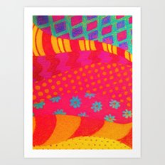 THE FASHIONISTA - Bright Vibrant Abstract Waves Mixed Media Whimsical Fashion Fabric Pattern Art Print