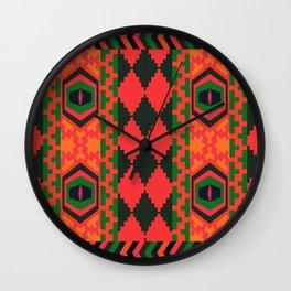 Neon tribal art Wall Clock