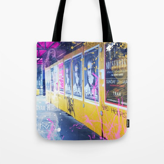 purple and yellow _  little burke graffiti Tote Bag