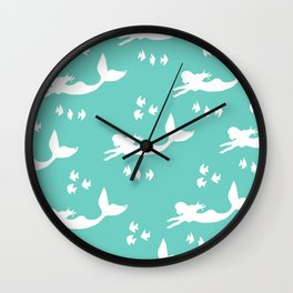 Mermaid Pattern Sea Green Wall Clock