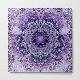 Lilac Boho Brocade Mandala Metal Print