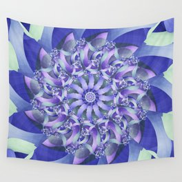 Ever Expanding Mandala in Blue and Purple Wall Tapestry