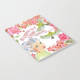 Warblers Visit Rose's Garden Trellis Notebook