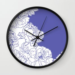 FLORAL IN BLUE Wall Clock