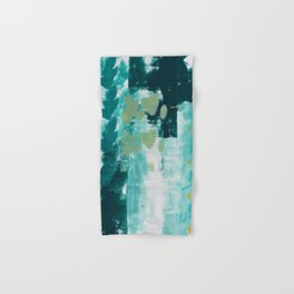 023: a vibrant abstract design in teal green and yellow by Alyssa Hamilton Art  Hand & Bath Towel