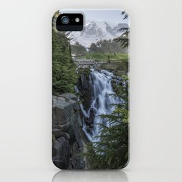 Mount Rainier and Myrtle Falls, Late Afternoon, vertical iPhone Case