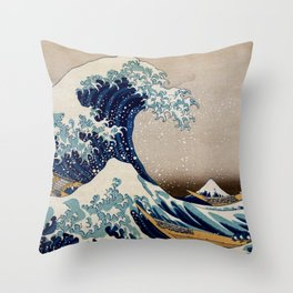 Under the Great Wave by Hokusai Throw Pillow