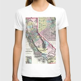 1872 Map of California and San Francisco T-shirt