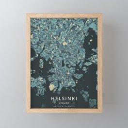 Helsinki, Finland - Cream Blue Framed Mini Art Print