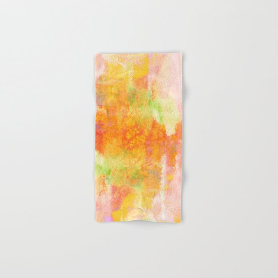 PASTEL IMAGININGS 3 Colorful Pretty Spring Summer Orange Yellow Peach Abstract Watercolor Painting Hand & Bath Towel