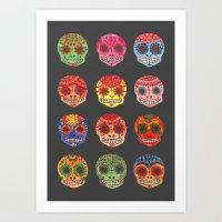 Watercolor Dia de los Muertos Skulls Art Print
