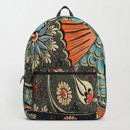 bohemian folk art orange aqua blue japanese good luck koi fish Backpack