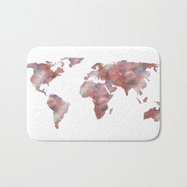 World Map in City Mod Red Slate Bath Mat