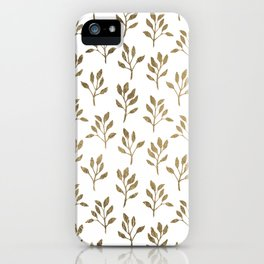 Stylish white faux gold modern elegant floral iPhone Case
