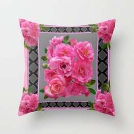 VICTORIAN STYLE CLUSTERED PINK ROSES ART Throw Pillow