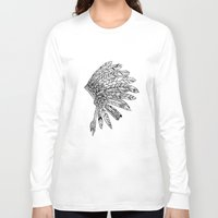 indian Long Sleeve T-shirts featuring Indian by Andrea Eedes