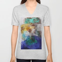 Abstract background of triangles polygon print. Bright design colors Unisex V-Neck